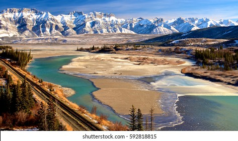 Athabasca River with the Miette range in the distance, Jasper National Park