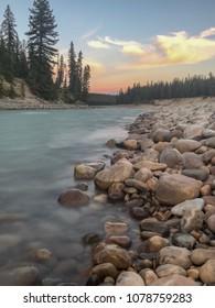Athabasca River at Wapiti Winter Campground in Jasper, Alberta Canada