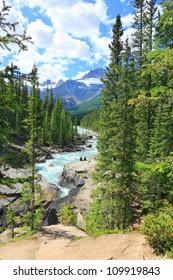 Athabaska river Rocky mountains landscape.Jasper National Park (Alberta, Canada)