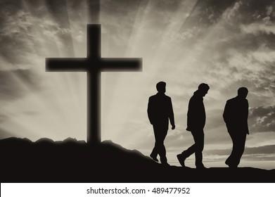 Atheism. Three men Atheists
