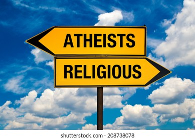 Atheists versus Religious concept. Direction signs pointing to different sides.