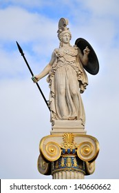 Athena, Ancient Greeks' goddess of heroic endeavor and wisdom. The statue is located by the main entrance of the Academy of Athens, Greece.