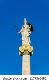 Athena the defender statue, the goddess of science and wisdom, 4.11 meters high mounted on pillars in the Ionian rhythm. Located at the the Academy of Athens - Greece