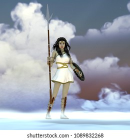 Athena Greek Goddess 3D illustration - Athena was the daughter of the Greek God Zeus and admired wisdom, courage and strategic warfare.