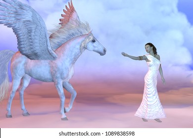 Athena Greek Goddess and Pegasus 3D illustration - Athena, daughter of the Greek God Zeus, beckons to the mythical Pegasus high up in the cloud layers.