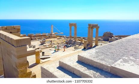 Athena Lindia Temple in Lindos Acropolis Rhodes Island