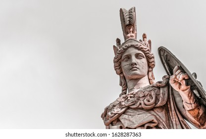 Athena marble statue, the ancient goddess of science and knowledge, Athens Greece, space for your text