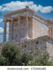 Athena Nike (victorious) ancient temple on Acropolis, Athens Greece