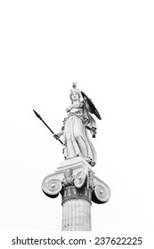 Athena Statue at Academy of Athens, Black and white image