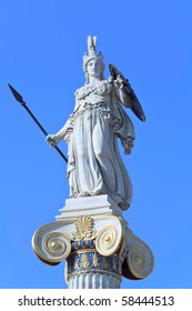 Athena statue with golden decorations