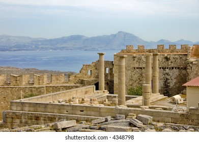 Athena temple in Acropolis of Lindos, Greece