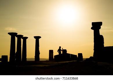 athena temple sunset silhouette