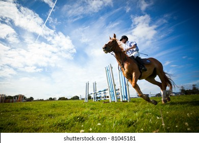 ATHENRY, IRELAND - JULY 3: Unidentified Man riding with Horse  at annual Athenry Agricultural Show  on July 3, 2011 in Athenry, Ireland.