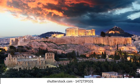 Athens - Acropolis at sunset, Greece