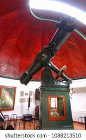 Athens, Attica / Greece - 10 May 2018: Photo of iconic vintage telescope of Athens Observatory in Philopapos hill
