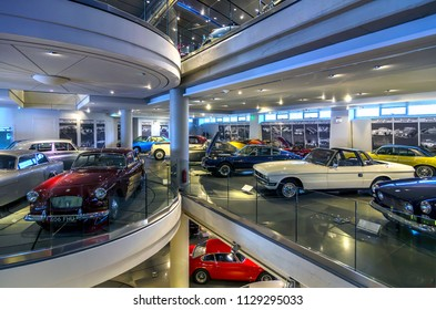 Athens, Attica / Greece - February 9, 2013: Interior view of the Hellenic Motor Museum in Athens