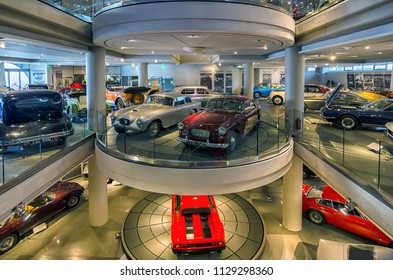 Athens, Attica / Greece - February 9, 2013: Interior view of the Hellenic Motor Museum in Athens.