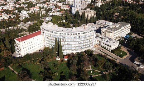Athens, Attica / Greece: November 03 2018: Aerial drone photo of famous injury public hospital of Athens known as KAT in Marousi
