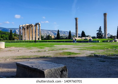 Athens, Attica / Greece.The Temple of Olympian Zeus also known as the Olympieion or Columns of the Olympian Zeus at the center of Athens city. Sunny day, blue cloudy sky, panoramic view