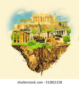 ATHENS city on floating land high resolution water color illustration