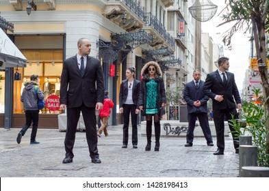 ATHENS, ERMOU,GREECE FEBRARY 5 2016: Group of bodyguard escort agency
