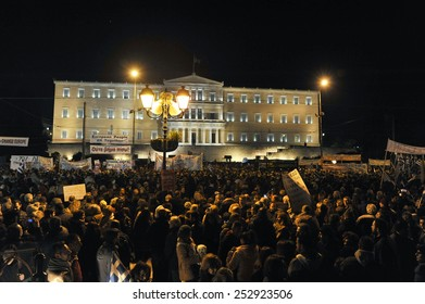 Athens, Feb 15, 2015. People gather in front of the parliament during an anti-austerity and pro-government demonstration to support the newly elected government's for a better deal on Greece??s debt