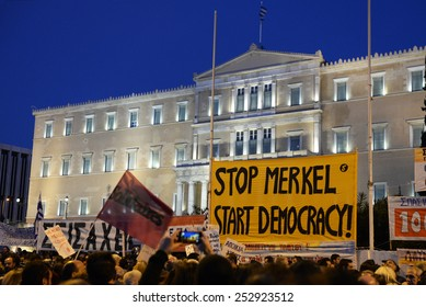 Athens, Feb 15, 2015. People gather in front of the parliament during an anti-austerity and pro-government demonstration to support the newly elected government??s for a better deal on Greece??s debt
