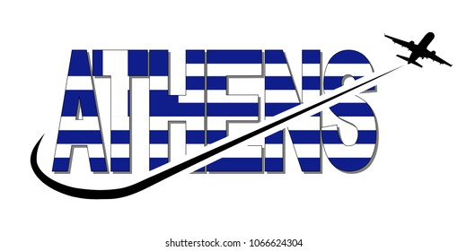 Athens flag text with plane silhouette and swoosh illustration