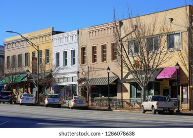 ATHENS, GA -6 JAN 2019- View of downtown Athens, Georgia, home of the campus of the University of Georgia (UGA), one of the oldest public universities in the United States.