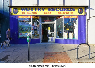 ATHENS, GA -6 JAN 2019- View of Wuxtry Records, a landmark old-fashioned record exchange store in downtown Athens, Georgia, home of the campus of the University of Georgia (UGA).