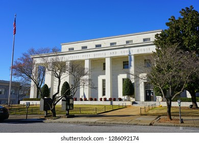 ATHENS, GA -6 JAN 2019- View of the United States Post Office and Courthouse located in downtown Athens, Clarke County, Georgia, home of the campus of the University of Georgia (UGA).