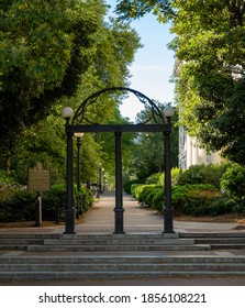 Athens, GA, United States: April 11, 2020: UGA Arch in Spring on empty campus day