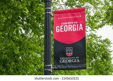 ATHENS, GA/USA JUNE 5, 2018: College banner and emblem on the campus of the University of  Georgia.