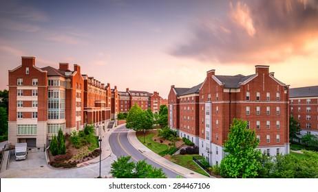 ATHENS, GEORGIA - MAY 10, 2015: Dormitory apartment buildings at the University of Georgia at dusk.
