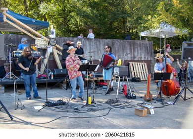 Athens, Georgia - October 10, 2021: Klezmer Local 42 plays at the Jittery Joe's Roaster during the Boo-Le-Bark fundraising event for AthensPets, an area nonprofit.