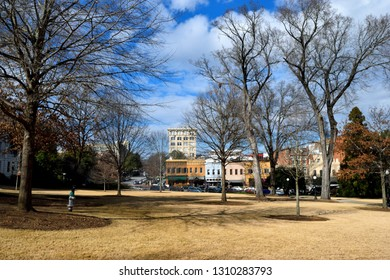 ATHENS, GEORGIA, USA - FEBRUARY 03, 2019: Historic University of Georgia campus with the city of Athens in the background.