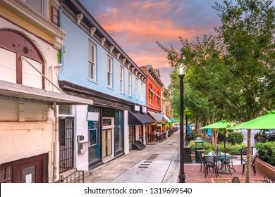 Athens, Georgia, USA historic downtown at dusk.
