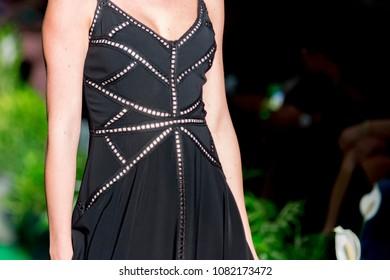 Athens, Greece, 03/29/2018, female model posing during catwalk
