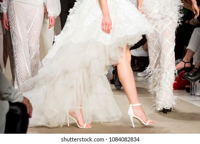 Athens, Greece, 03/29/2018, female models at finale of the fashion show
