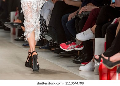 Athens. Greece, 03/29/2018, legs of a model catwalk in fashion show