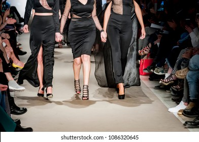 Athens, Greece, 03/30/2018, female models at finale of the fashion show