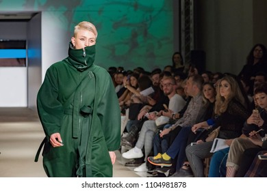 Athens, Greece, 03/31/2018, male model during catwalk in a fashion show