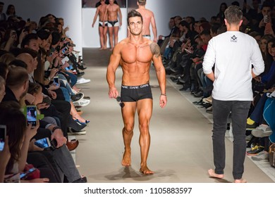 Athens, Greece, 03/31/2018, male models catwalk in fashion show
