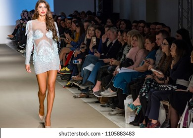 Athens, Greece, 03/31/2018, models catwalk in fashion show