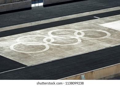 Athens, Greece, 06/28/2018, Olympic rings in the Panathenaic stadium