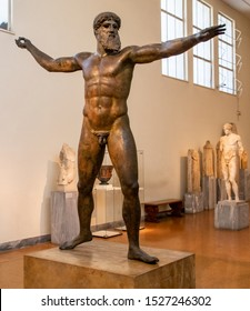 Athens, Greece - 10/6/2019: The Bronze Statue of Zeus or Poseidon on Display in the National Archaeological Museum