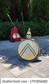 Athens, Greece; 13th May 2018; The gladiator kit on display at streets in athens. The same kit ilwas used by spartans and was shown in movie 300.