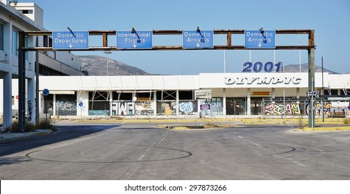 ATHENS, GREECE -14 JULY 2015- Opened in 1938, the old Ellinikon Athens airport was abandoned in 2001 after the new Athens International Airport Eleftherios Venizelos (ATH) opened for the Olympics.