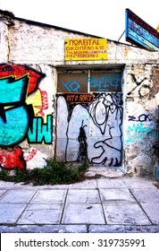 ATHENS, GREECE -14 JULY 2015- Graffiti street art has proliferated on the street walls and back alleys of central Athens since the onset of the Greek euro crisis in 2010.