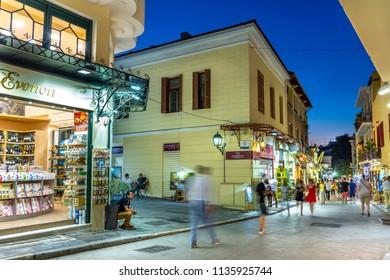 ATHENS, GREECE, 15 JULY 2018 : Plaka,an old historical neighbourhood of Athens, near Acropolis.